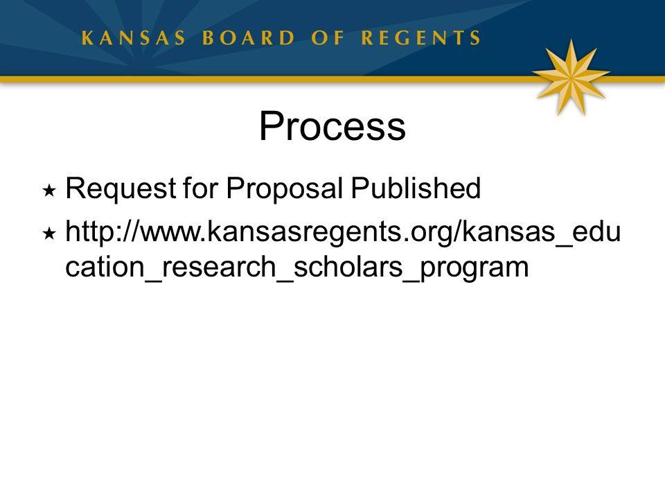 Process  Request for Proposal Published  http://www.kansasregents.org/kansas_edu cation_research_scholars_program