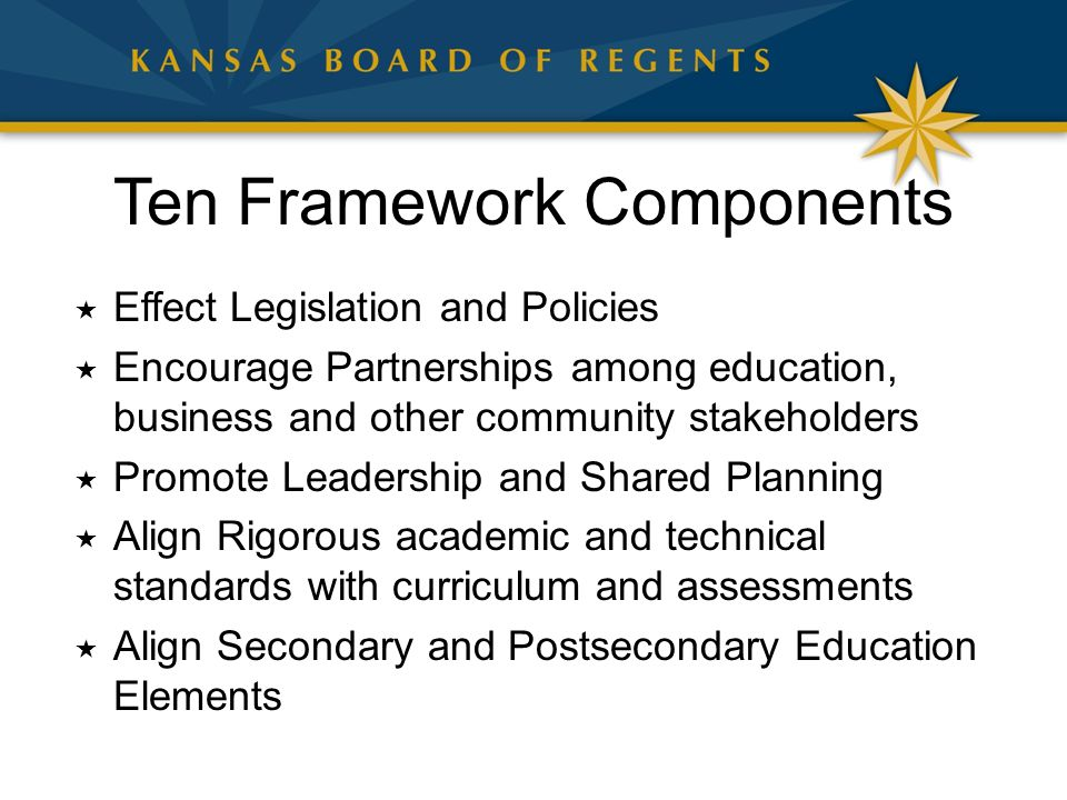 Ten Framework Components  Effect Legislation and Policies  Encourage Partnerships among education, business and other community stakeholders  Promo