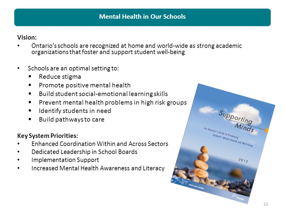 Vision: Ontario's schools are recognized at home and world-wide as strong academic organizations that foster and support student well-being Schools ar