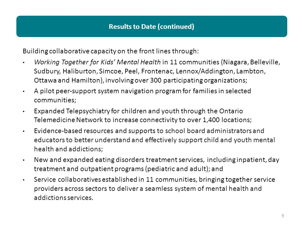 Building collaborative capacity on the front lines through: Working Together for Kids' Mental Health in 11 communities (Niagara, Belleville, Sudbury,