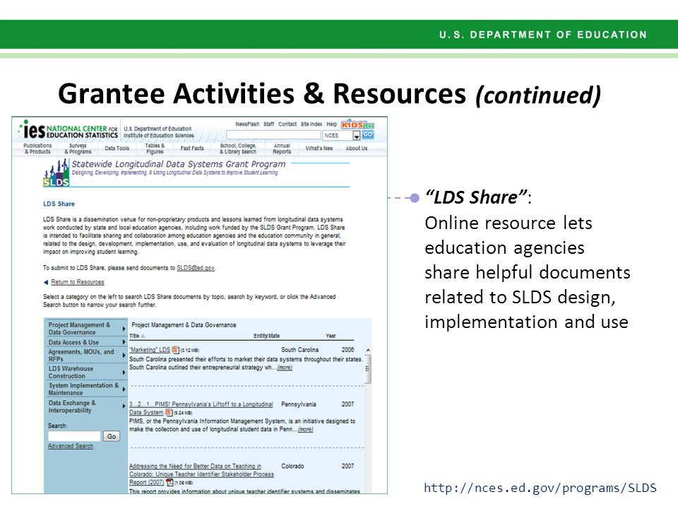 LDS Share : Online resource lets education agencies share helpful documents related to SLDS design, implementation and use Grantee Activities & Resources (continued) http://nces.ed.gov/programs/SLDS