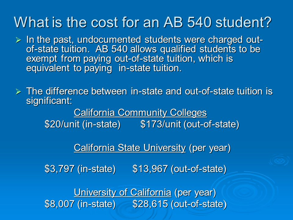 What is the cost for an AB 540 student.