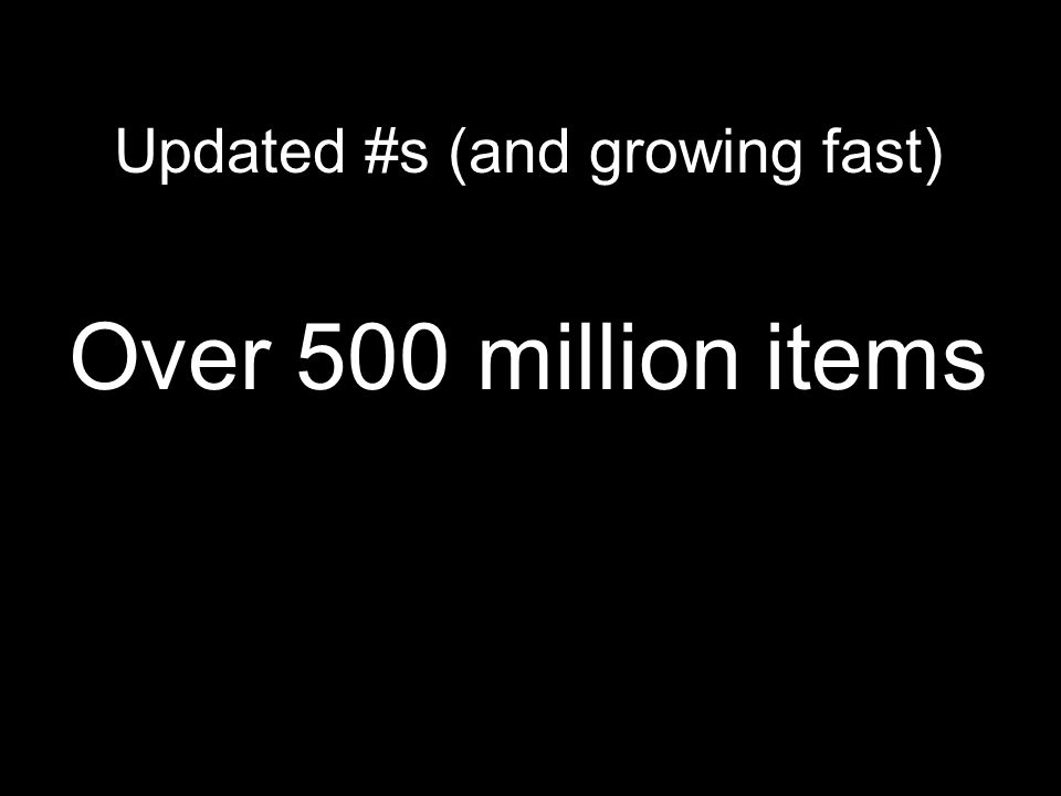 Updated #s (and growing fast) Over 500 million items