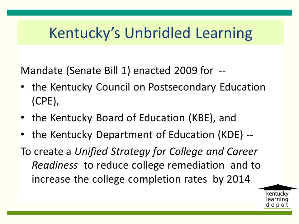 To align revised K-12 academic standards with college readiness requirements and expectations and promote degree completion: Accelerated Learning Opportunities Secondary Intervention Programs College and Career Readiness Advising Postsecondary College Persistence and Degree Completion Four Key Strategies