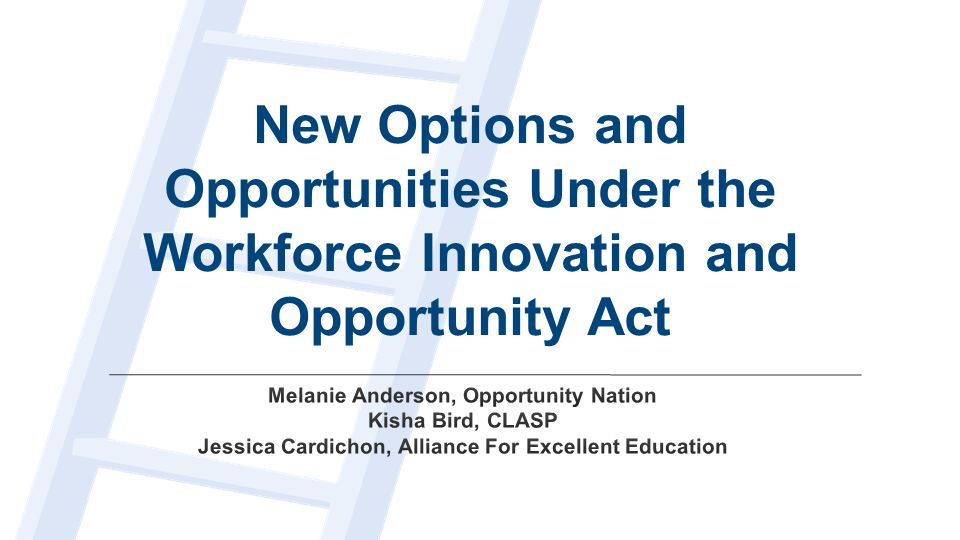 New Options and Opportunities Under the Workforce Innovation and Opportunity Act