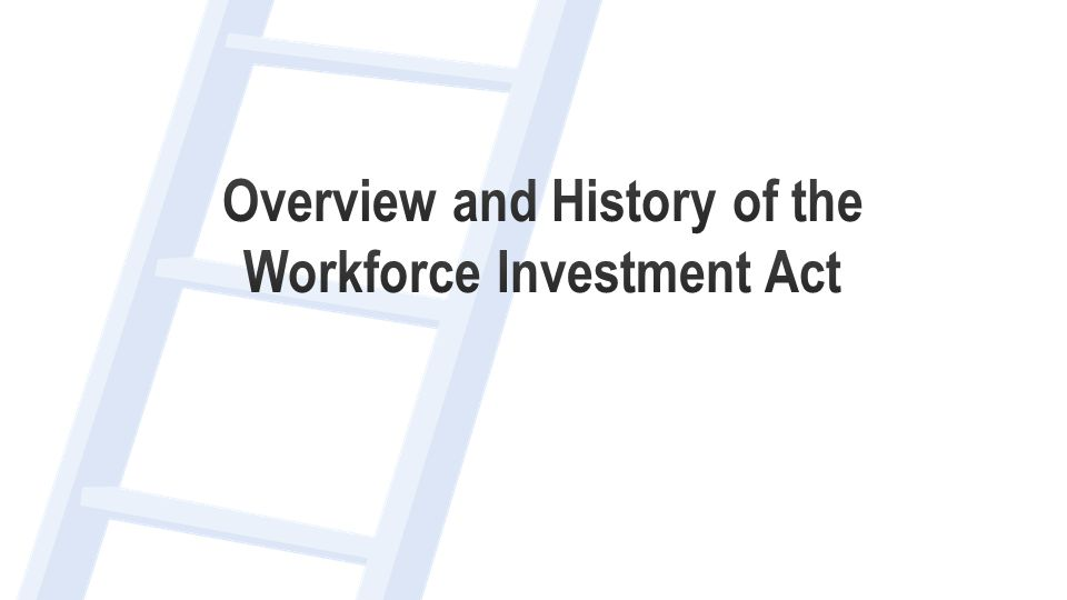 Workforce Investment Act  Signed into law in 1998  Five Titles  Title I.