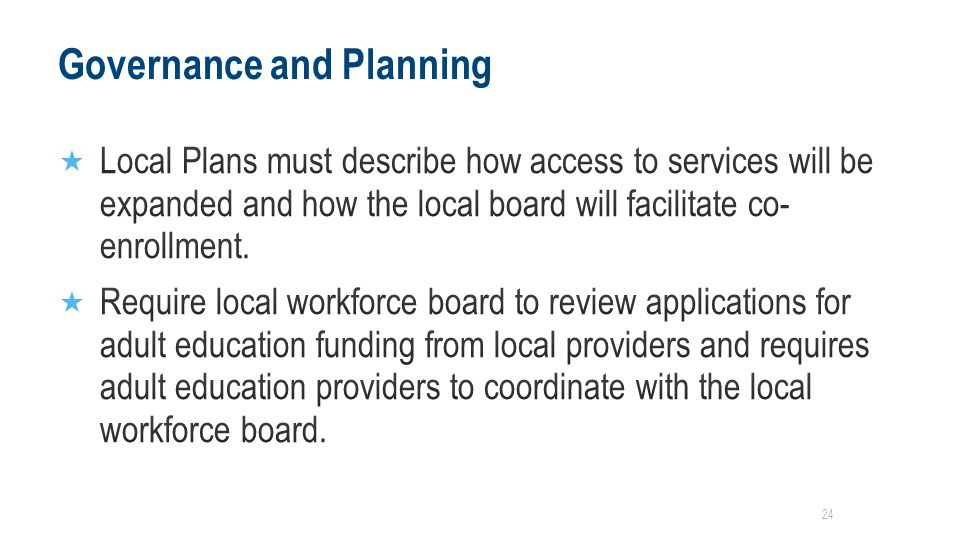 Governance and Planning 24