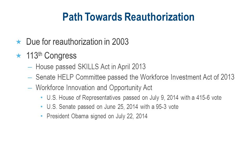 Path Towards Reauthorization