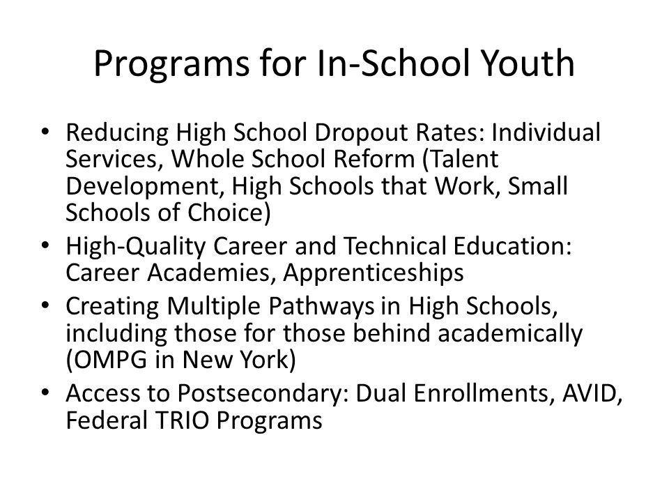 Programs for In-School Youth Reducing High School Dropout Rates: Individual Services, Whole School Reform (Talent Development, High Schools that Work, Small Schools of Choice) High-Quality Career and Technical Education: Career Academies, Apprenticeships Creating Multiple Pathways in High Schools, including those for those behind academically (OMPG in New York) Access to Postsecondary: Dual Enrollments, AVID, Federal TRIO Programs