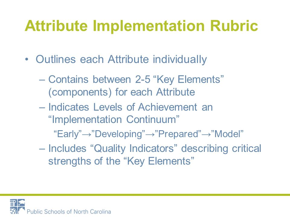 Attribute Implementation Rubric Outlines each Attribute individually –Contains between 2-5 Key Elements (components) for each Attribute –Indicates Levels of Achievement an Implementation Continuum Early → Developing → Prepared → Model –Includes Quality Indicators describing critical strengths of the Key Elements