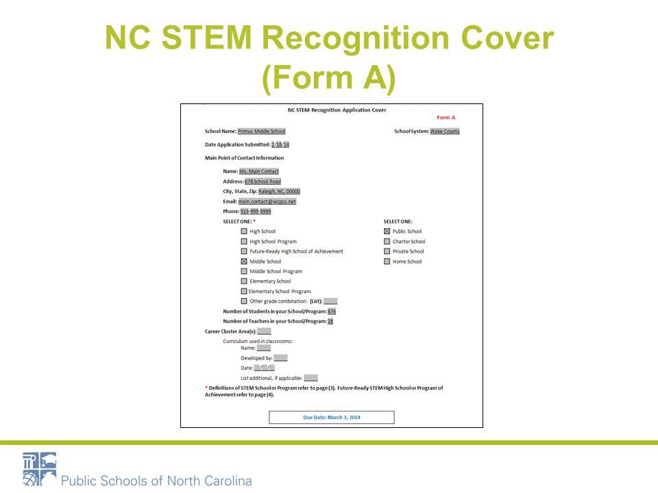 NC STEM Recognition Cover (Form A)