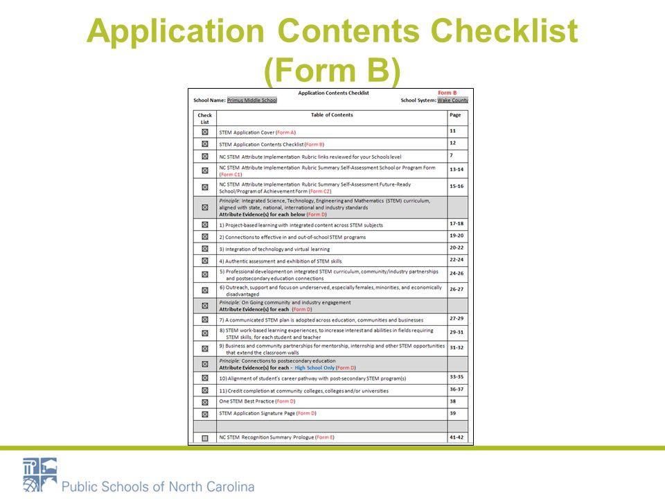 Application Contents Checklist (Form B)