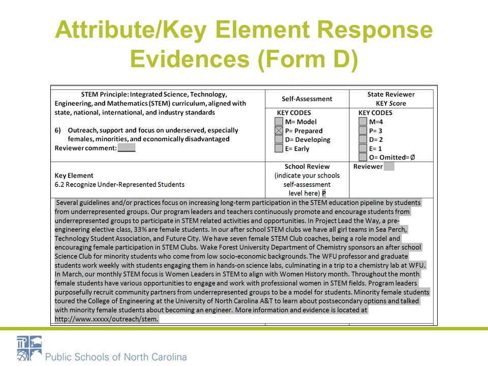 Attribute/Key Element Response Evidences (Form D)