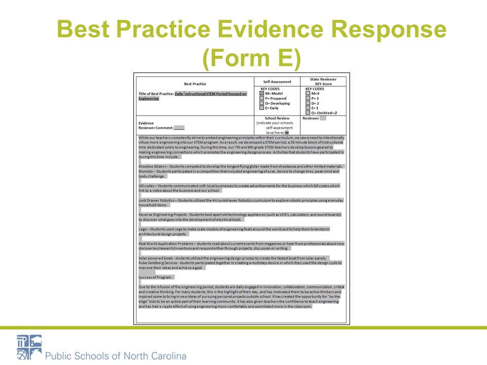 Best Practice Evidence Response (Form E)
