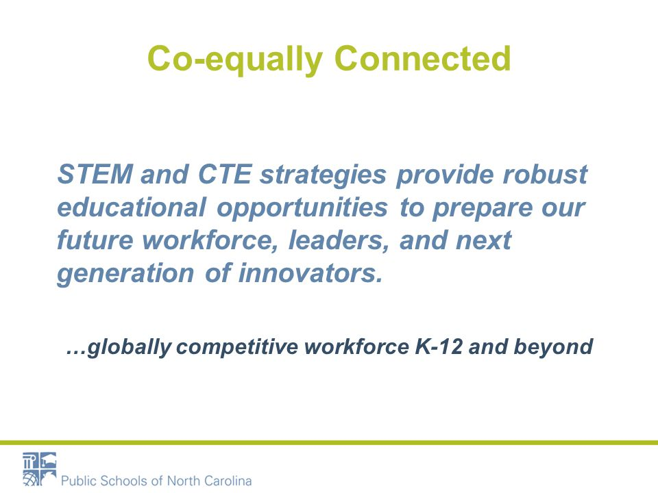 STEM Priority Developed the NC STEM Strategic Plan Defined STEM Education Outlined 11essential Attributes Created a STEM Implementation Rubric Implemented Anchor and Affinity Network Themed Schools Developed NC STEM Recognition Program