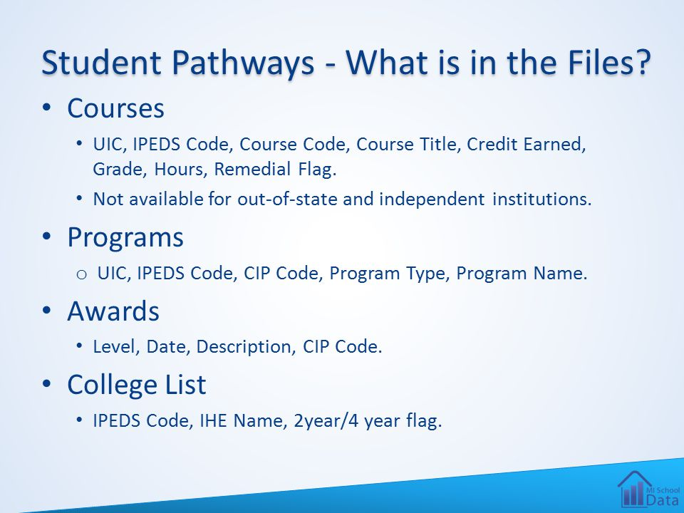Student Pathways - What is in the Files? Courses UIC, IPEDS Code, Course Code, Course Title, Credit Earned, Grade, Hours, Remedial Flag. Not available