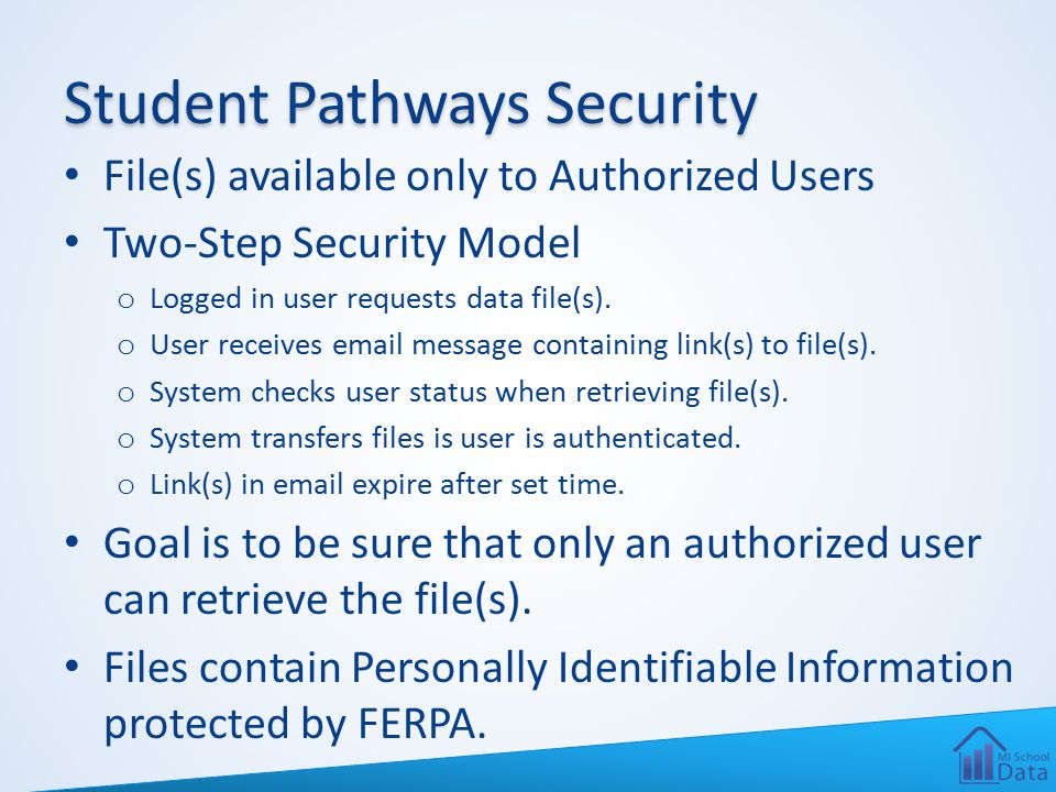 Student Pathways Security File(s) available only to Authorized Users Two-Step Security Model o Logged in user requests data file(s).