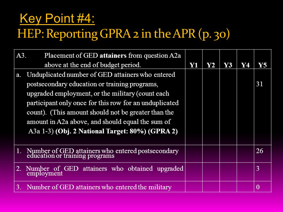 Key Point #4: HEP: Reporting GPRA 2 in the APR (p.