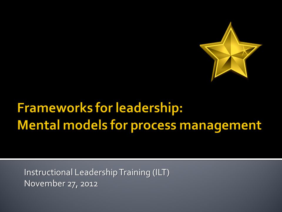 Instructional Leadership Training (ILT) November 27, 2012