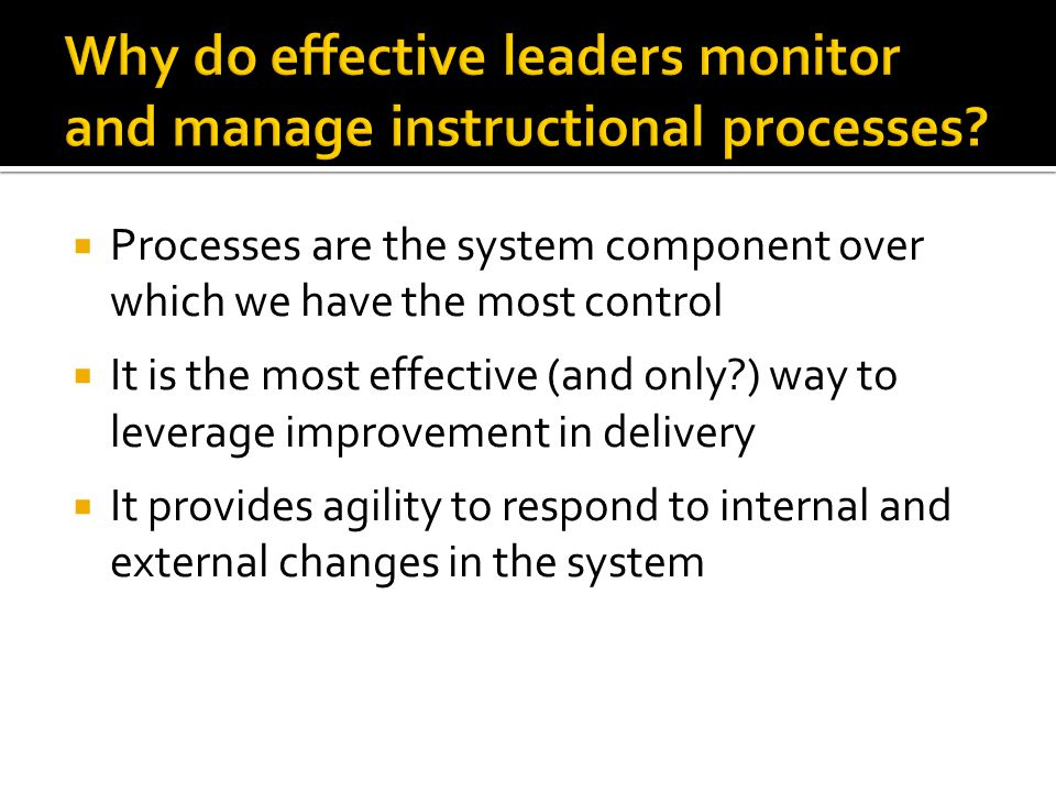  Processes are the system component over which we have the most control  It is the most effective (and only ) way to leverage improvement in delivery  It provides agility to respond to internal and external changes in the system