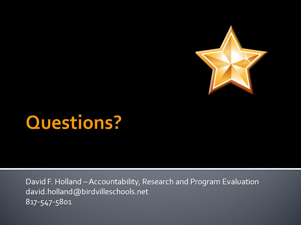 David F. Holland – Accountability, Research and Program Evaluation david.holland@birdvilleschools.net817-547-5801