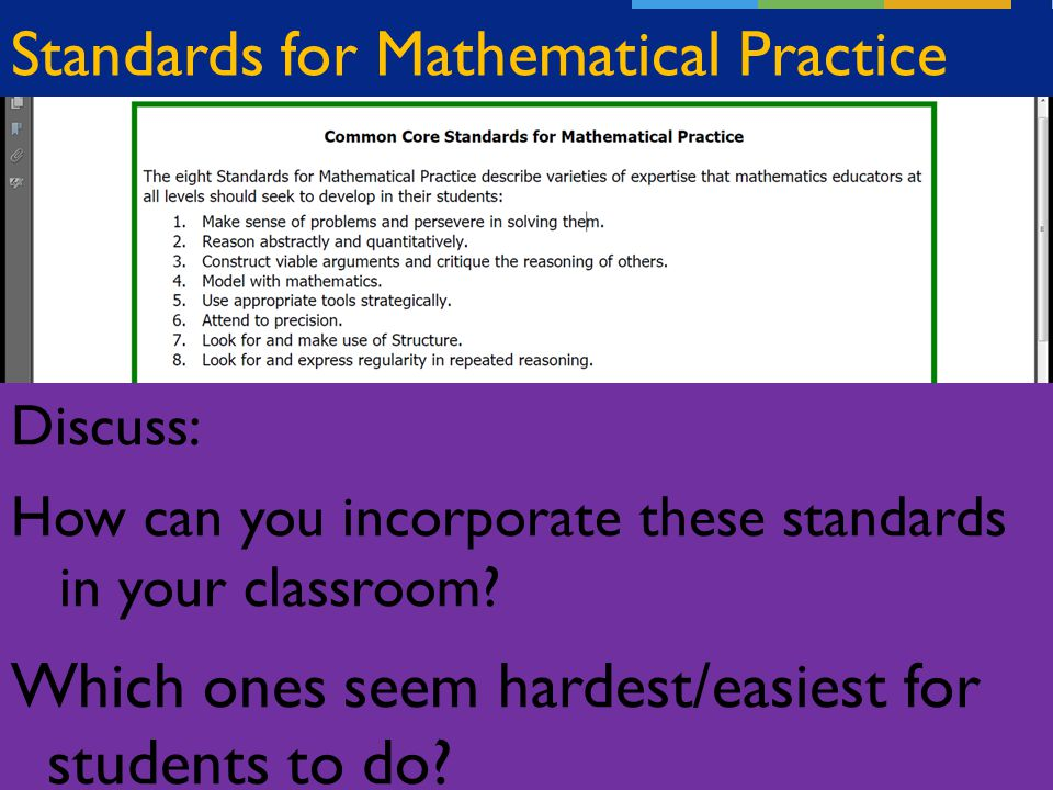 Standards for Mathematical Practice Discuss: How can you incorporate these standards in your classroom.