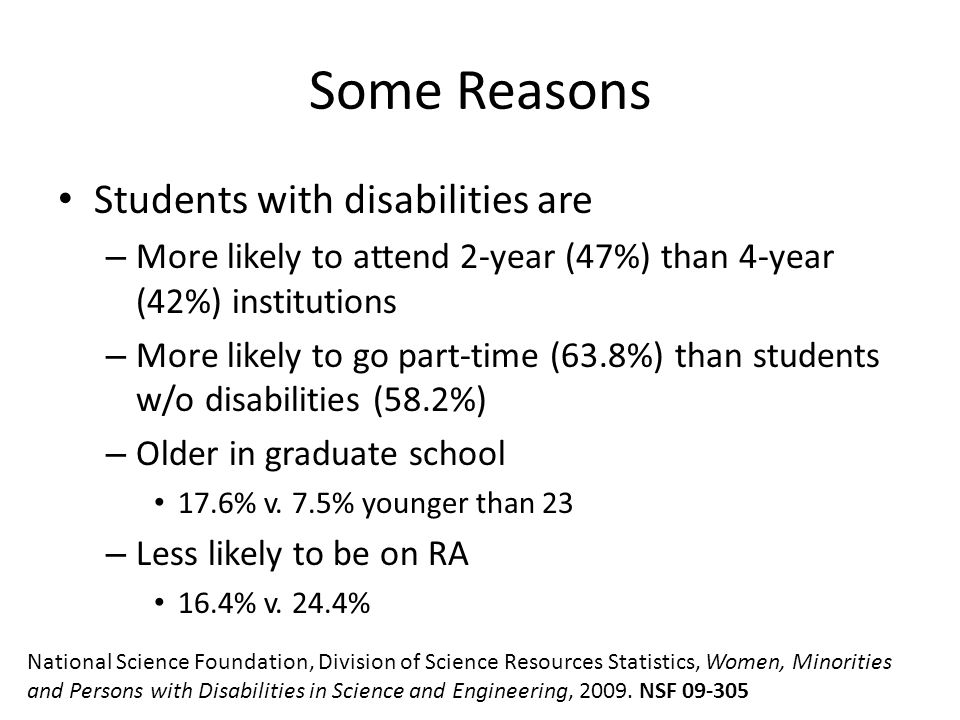 Some Reasons Students with disabilities are – More likely to attend 2-year (47%) than 4-year (42%) institutions – More likely to go part-time (63.8%) than students w/o disabilities (58.2%) – Older in graduate school 17.6% v.
