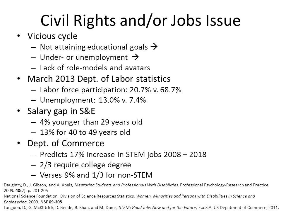 Civil Rights and/or Jobs Issue Vicious cycle – Not attaining educational goals  – Under- or unemployment  – Lack of role-models and avatars March 2013 Dept.
