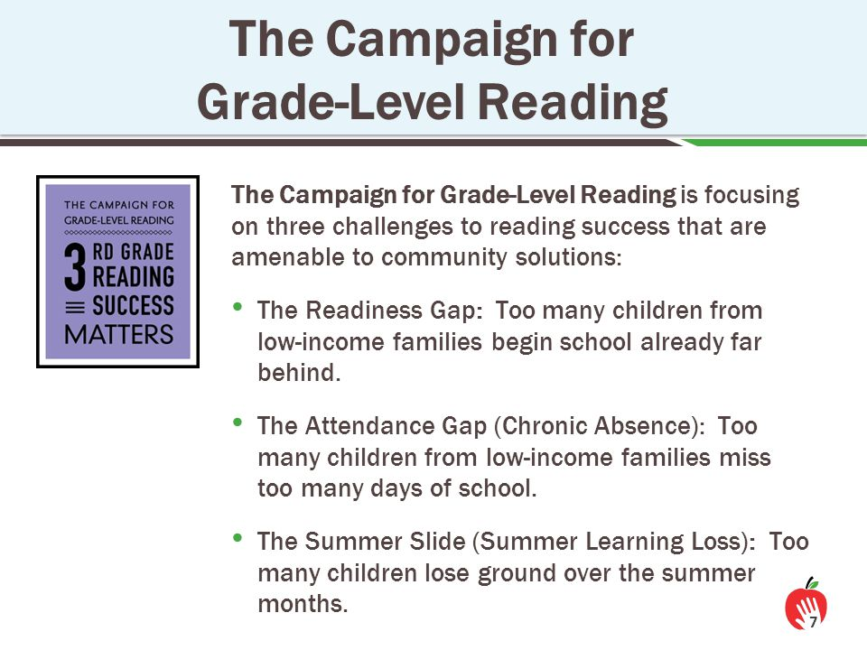 8 Starting in preK, chronic absence affects learning and school readiness.