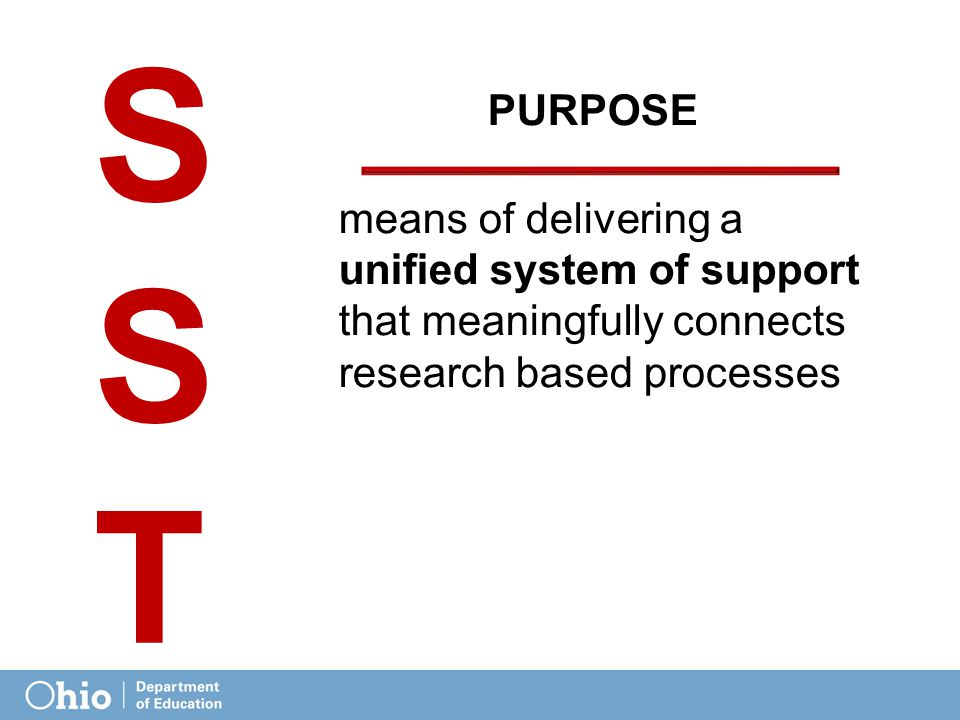 PURPOSE means of delivering a unified system of support that meaningfully connects research based processes SSTSST