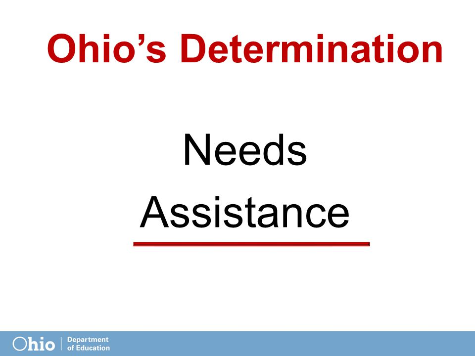 Determinations Calculations  RDA Matrix includes 12 elements for scoring  4 elements based on state assessments  8 elements based on NAEP assessments  Score range: -1 to 2  20 possible points, ≥16 = Meets Requirements Ohio's Total = 12