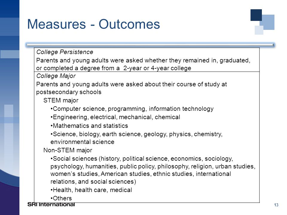 Measures - Outcomes 13 College Persistence Parents and young adults were asked whether they remained in, graduated, or completed a degree from a 2-year or 4-year college College Major Parents and young adults were asked about their course of study at postsecondary schools STEM major Computer science, programming, information technology Engineering, electrical, mechanical, chemical Mathematics and statistics Science, biology, earth science, geology, physics, chemistry, environmental science Non-STEM major Social sciences (history, political science, economics, sociology, psychology, humanities, public policy, philosophy, religion, urban studies, women's studies, American studies, ethnic studies, international relations, and social sciences) Health, health care, medical Others