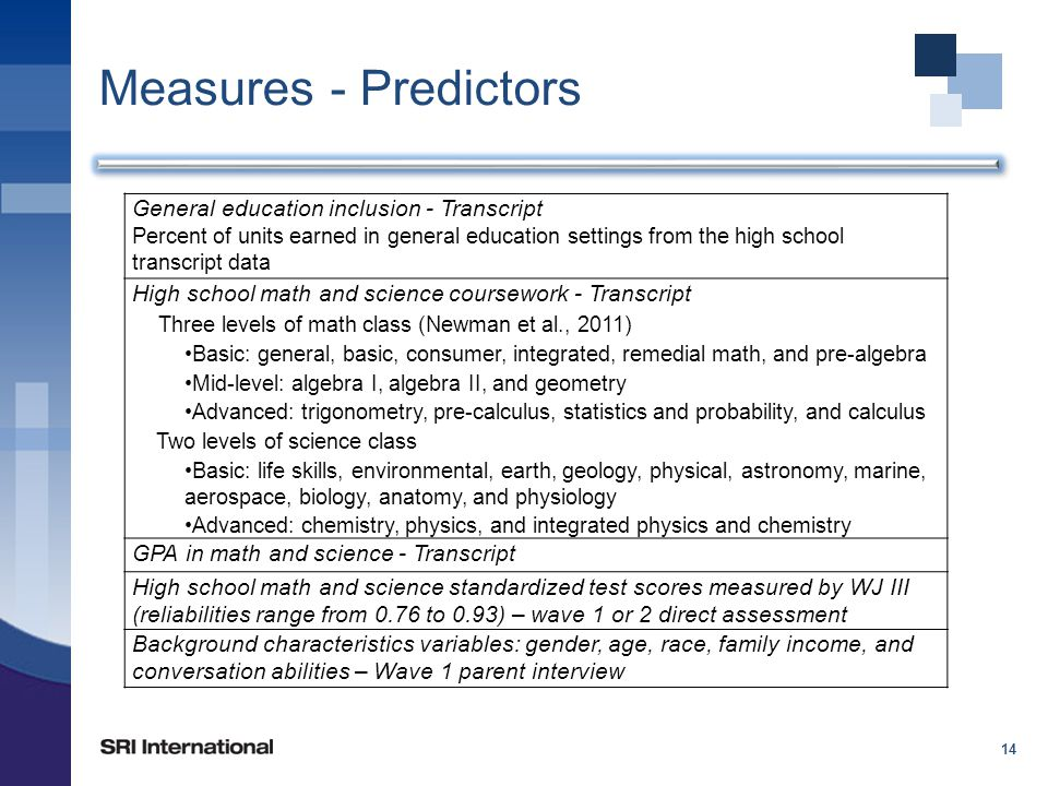 Measures - Predictors 14 General education inclusion - Transcript Percent of units earned in general education settings from the high school transcript data High school math and science coursework - Transcript Three levels of math class (Newman et al., 2011) Basic: general, basic, consumer, integrated, remedial math, and pre-algebra Mid-level: algebra I, algebra II, and geometry Advanced: trigonometry, pre-calculus, statistics and probability, and calculus Two levels of science class Basic: life skills, environmental, earth, geology, physical, astronomy, marine, aerospace, biology, anatomy, and physiology Advanced: chemistry, physics, and integrated physics and chemistry GPA in math and science - Transcript High school math and science standardized test scores measured by WJ III (reliabilities range from 0.76 to 0.93) – wave 1 or 2 direct assessment Background characteristics variables: gender, age, race, family income, and conversation abilities – Wave 1 parent interview