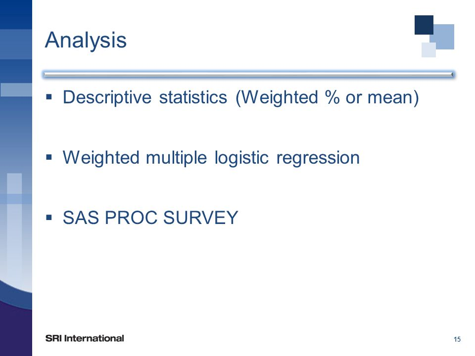 Analysis  Descriptive statistics (Weighted % or mean)  Weighted multiple logistic regression  SAS PROC SURVEY 15