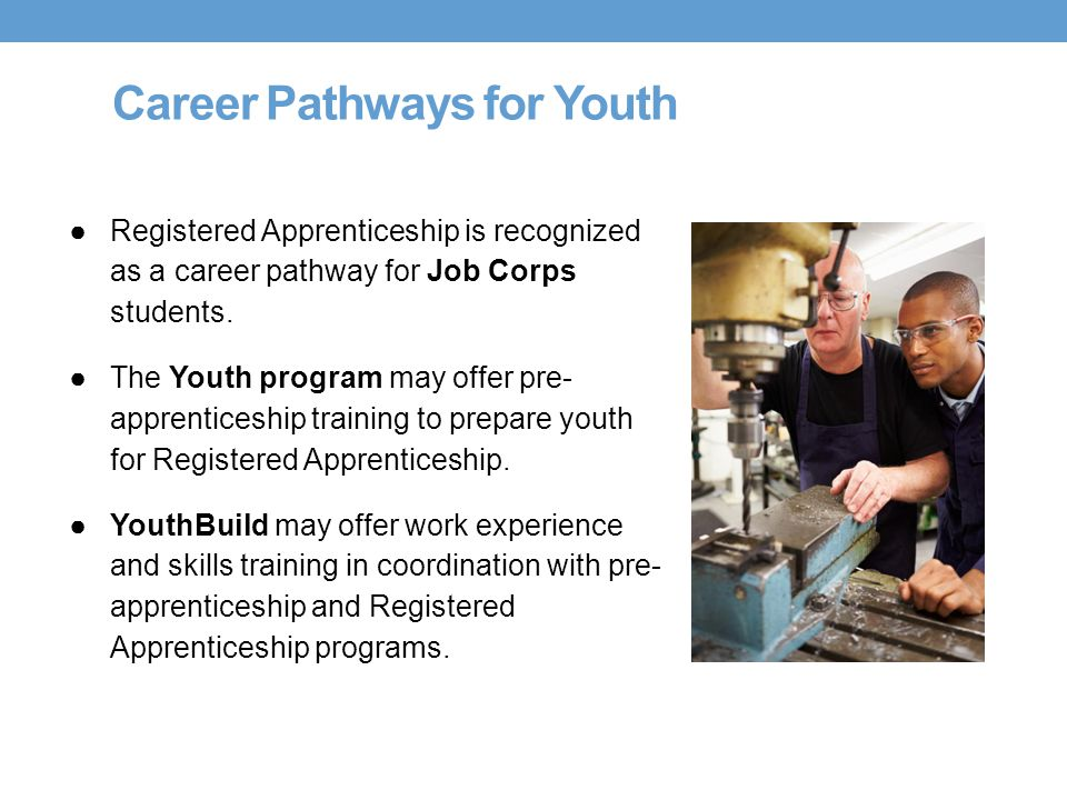 Career Pathways for Youth ●Registered Apprenticeship is recognized as a career pathway for Job Corps students. ●The Youth program may offer pre- appre