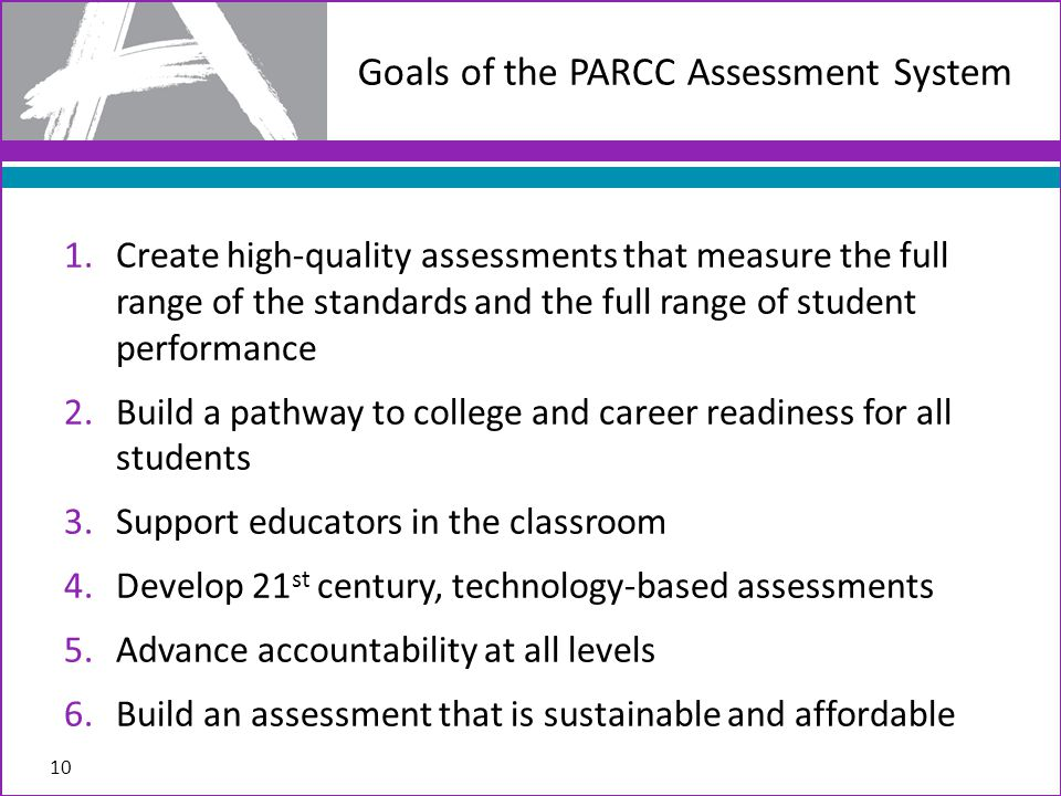 1.Create high-quality assessments that measure the full range of the standards and the full range of student performance 2.Build a pathway to college and career readiness for all students 3.Support educators in the classroom 4.Develop 21 st century, technology-based assessments 5.Advance accountability at all levels 6.Build an assessment that is sustainable and affordable Goals of the PARCC Assessment System 10
