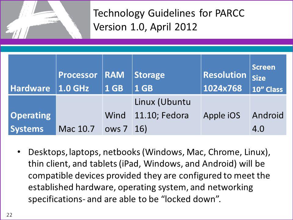 22 Technology Guidelines for PARCC Version 1.0, April 2012 Desktops, laptops, netbooks (Windows, Mac, Chrome, Linux), thin client, and tablets (iPad,