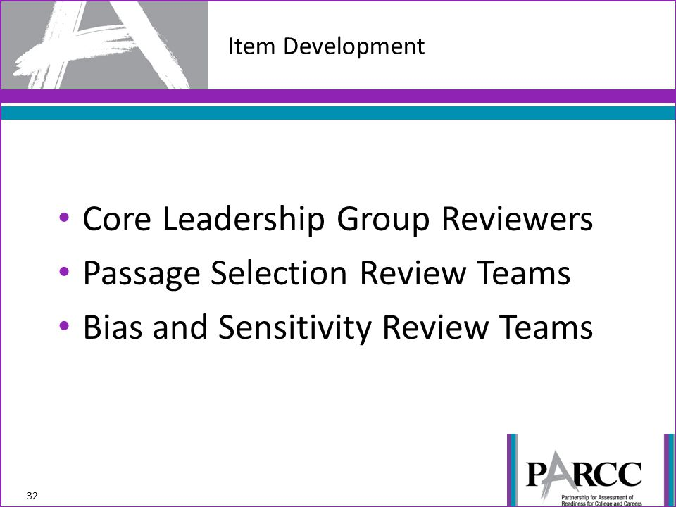 Core Leadership Group Reviewers Passage Selection Review Teams Bias and Sensitivity Review Teams Item Development 32