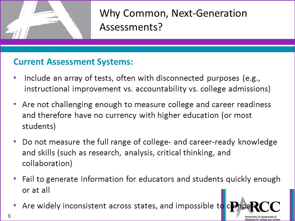 Current Assessment Systems: Include an array of tests, often with disconnected purposes (e.g., instructional improvement vs. accountability vs. colleg
