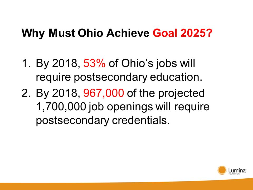 Why Must Ohio Achieve Goal 2025.