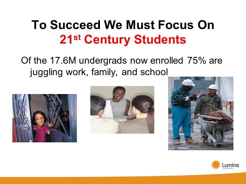 To Succeed We Must Focus On 21 st Century Students Of the 17.6M undergrads now enrolled 75% are juggling work, family, and school