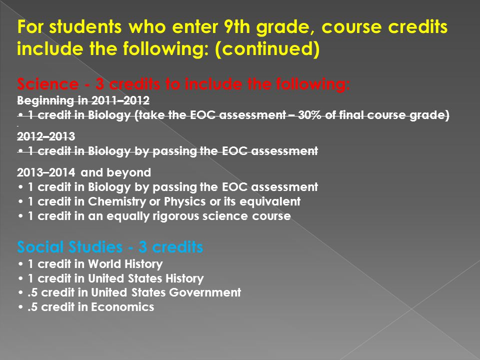 For students who enter 9th grade, course credits include the following: (continued) Science - 3 credits to include the following: Beginning in 2011– credit in Biology (take the EOC assessment – 30% of final course grade) 2012– credit in Biology by passing the EOC assessment 2013–2014 and beyond 1 credit in Biology by passing the EOC assessment 1 credit in Chemistry or Physics or its equivalent 1 credit in an equally rigorous science course Social Studies - 3 credits 1 credit in World History 1 credit in United States History.5 credit in United States Government.5 credit in Economics
