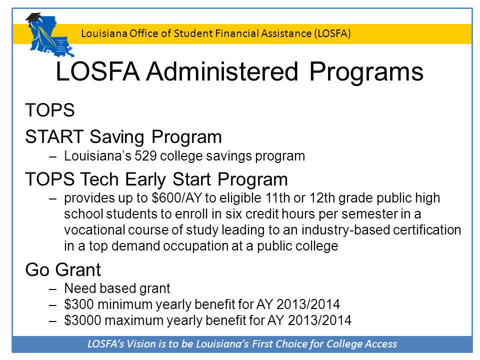 LOSFA's Vision is to be Louisiana's First Choice for College Access Louisiana Office of Student Financial Assistance (LOSFA) Program Presentations College Knowledge FLY: Financial Literacy for You FLY Tour 2015 START Saving Program