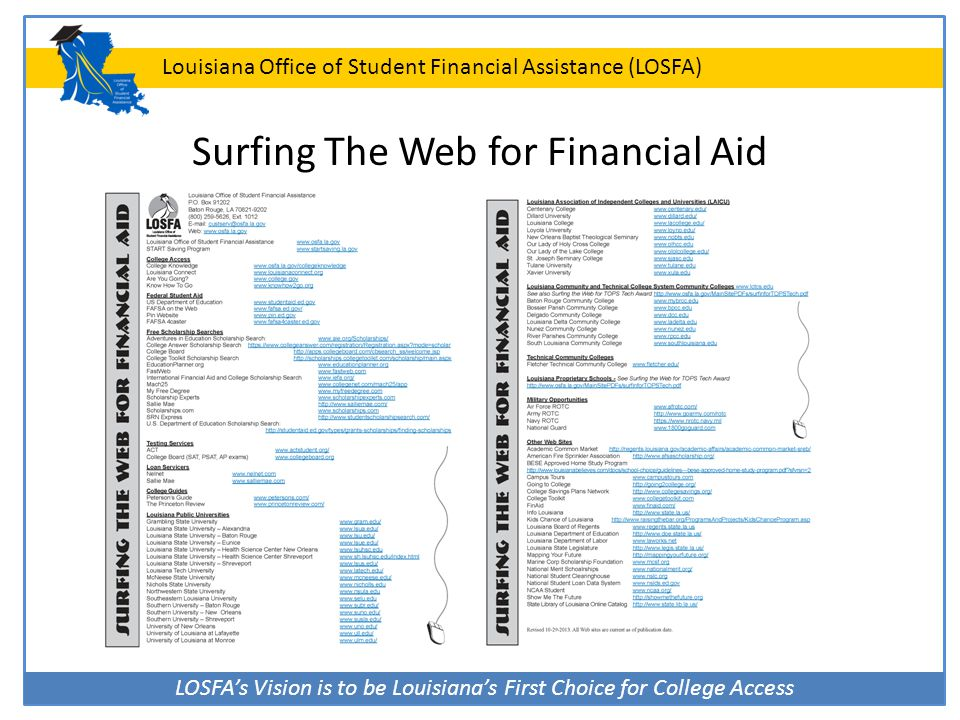 LOSFA's Vision is to be Louisiana's First Choice for College Access Louisiana Office of Student Financial Assistance (LOSFA) Surfing The Web for Finan