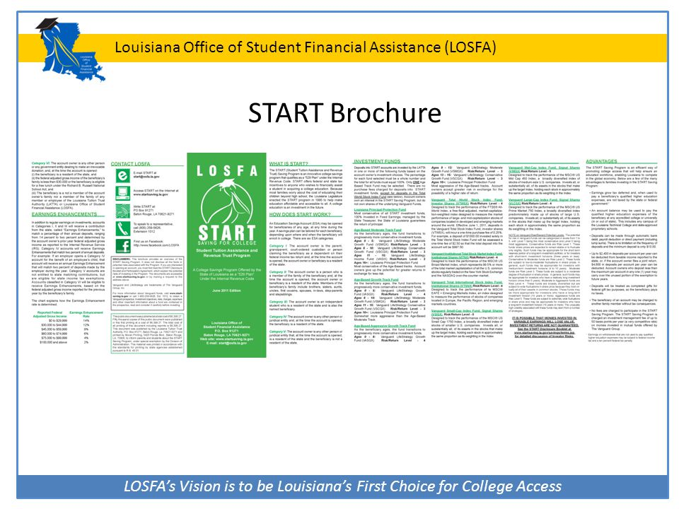 LOSFA's Vision is to be Louisiana's First Choice for College Access Louisiana Office of Student Financial Assistance (LOSFA) START Brochure