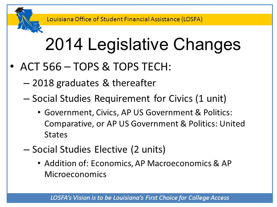 LOSFA's Vision is to be Louisiana's First Choice for College Access Louisiana Office of Student Financial Assistance (LOSFA) 2014 Legislative Changes