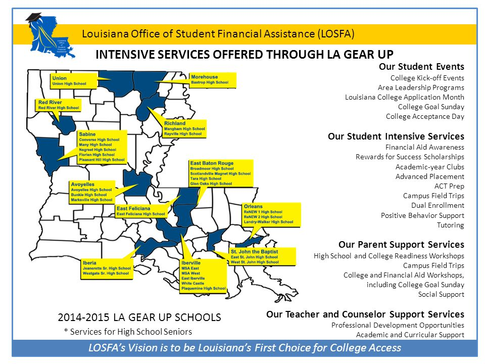 LOSFA's Vision is to be Louisiana's First Choice for College Access Louisiana Office of Student Financial Assistance (LOSFA) TOPS Tech Core Curriculum for High School Graduates 2014-2017