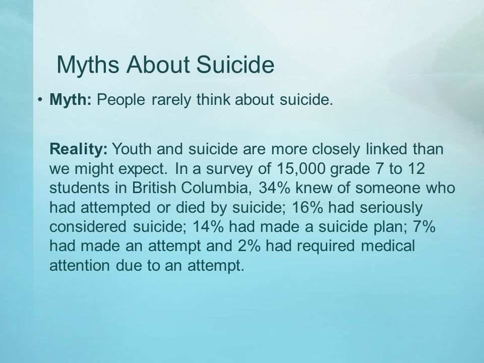 Myths About Suicide Myth: People rarely think about suicide.