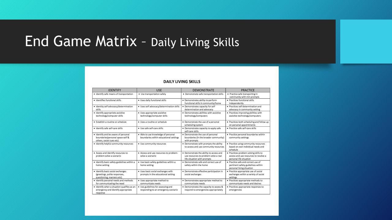 End Game Matrix – Daily Living Skills