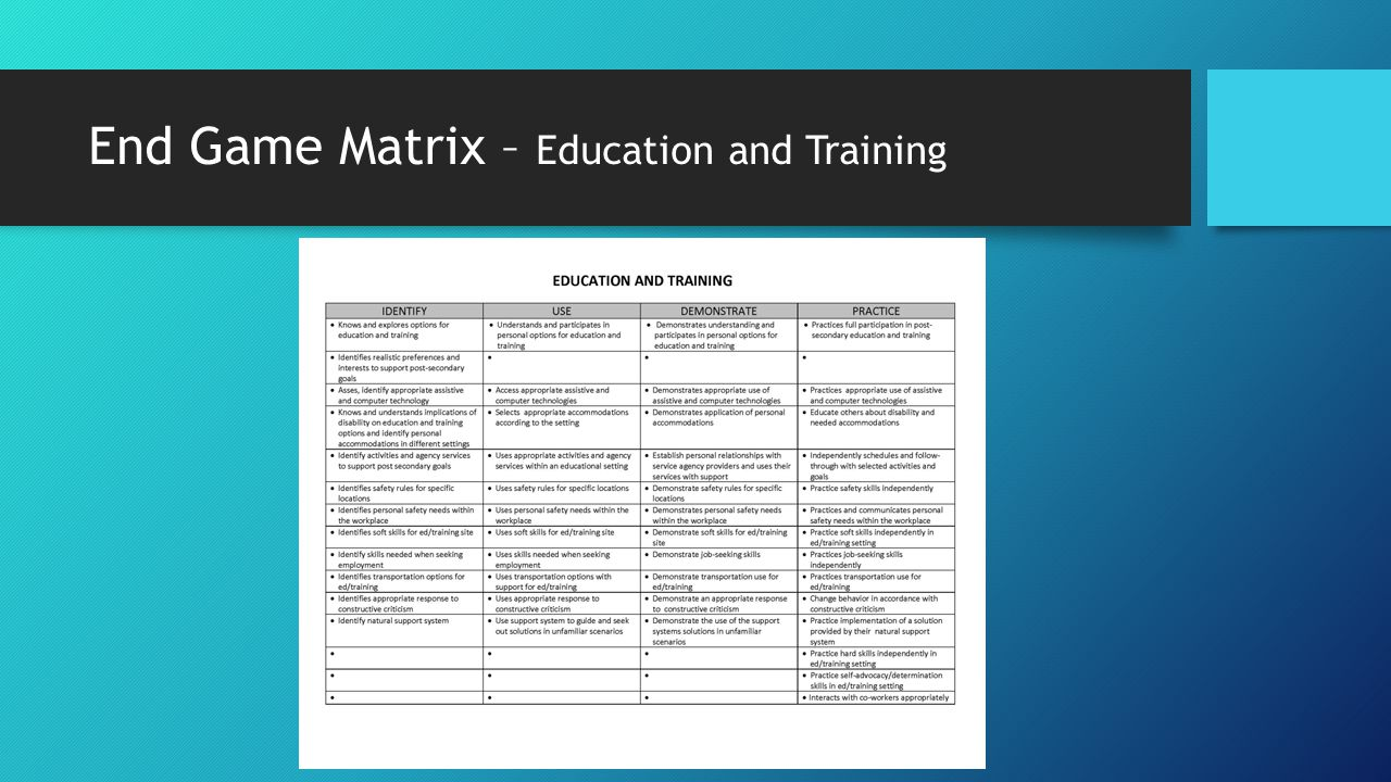 End Game Matrix – Education and Training